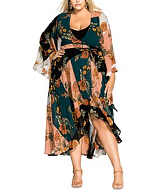 Trendy Plus Size Bell-Sleeve Wrap Dress