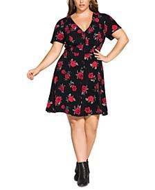 Trendy Plus Size Rosie Posie A-Line Dress
