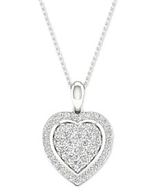 "Diamond Heart Cluster Pendant Necklace (1/2 ct. t.w.) in Sterling Silver, 16"" + 2"" extender"