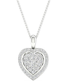 """Diamond Heart Cluster Pendant Necklace (1/2 ct. t.w.) in Sterling Silver, 16"""" + 2"""" extender"""