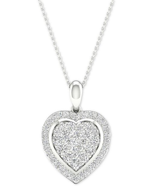 "Macy's Diamond Heart Cluster Pendant Necklace (1/2 ct. t.w.) in Sterling Silver, 16"" + 2"" extender"