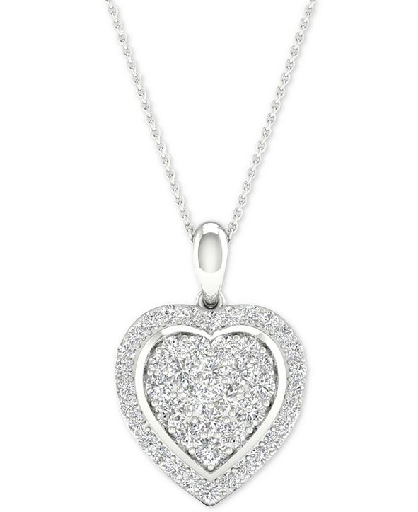 """Macy's Diamond Heart Cluster Pendant Necklace (1/2 ct. t.w.) in Sterling Silver, 16"""" + 2"""" extender"""