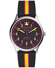 Men's Forrester Black Striped Silicone Strap Watch 42mm