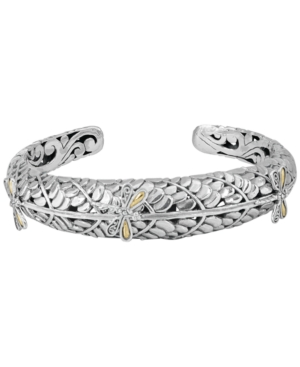 Sweet Dragonfly Green Earth Cuff Bracelet in Sterling Silver and 18k Yellow Gold Accents