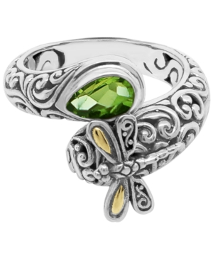 Gemstone Sweet Dragonfly Classic Ring in Sterling Silver and 18k Yellow Gold Accents (Available in Citrine and Peridot)