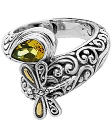 Citrine (1 ct. t.w.) Sweet Dragonfly Classic Ring in Sterling Silver and 18k Yellow Gold Accents (Also Available in Peridot)