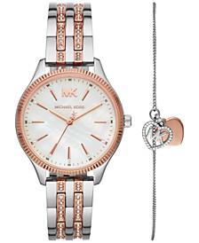 Women's Lexington Two-Tone Pavé Stainless Steel Bracelet Watch 36mm Gift Set