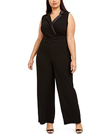 Plus Size Satin-Collared Jumpsuit