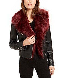 Faux-Fur-Trim Moto Jacket, Created For Macy's