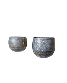 Silver and Gold Metal Wall Planters, Set of 2