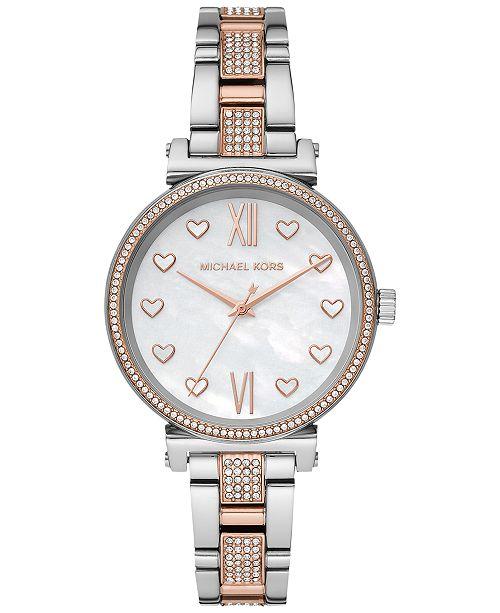 Michael Kors Women's Mini Sofie Two-Tone Stainless Steel Pavé Bracelet Watch 36mm