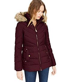 Michael Michael Kors Hooded Faux-Fur-Trim Down Puffer Coat, Created for Macy's