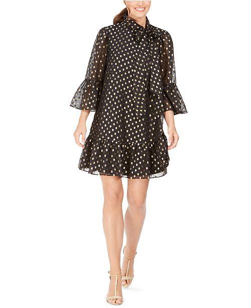 Calvin Klein Tie-Neck Metallic Clip-Dot Dress