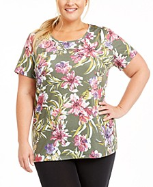 Plus Size Palm Floral-Print Top, Created For Macy's