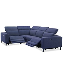 "Sleannah 4-Pc. Fabric ""L"" Shape Sectional with 2 Power Recliners"