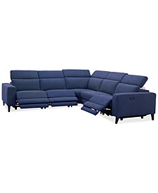 "Sleannah 5-Pc. Fabric ""L"" Shape Sectional with 3 Power Recliners"