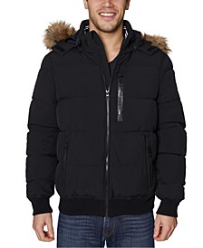 Men's Stretch Faux Fur-Hooded Bomber Jacket
