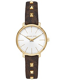 Women's Mini Pyper Brown Logo & Studs PVC Strap Watch 32mm