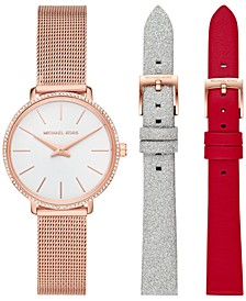 Women's Pyper Rose Gold-Tone Stainless Steel Mesh Bracelet Watch Gift Set 32mm
