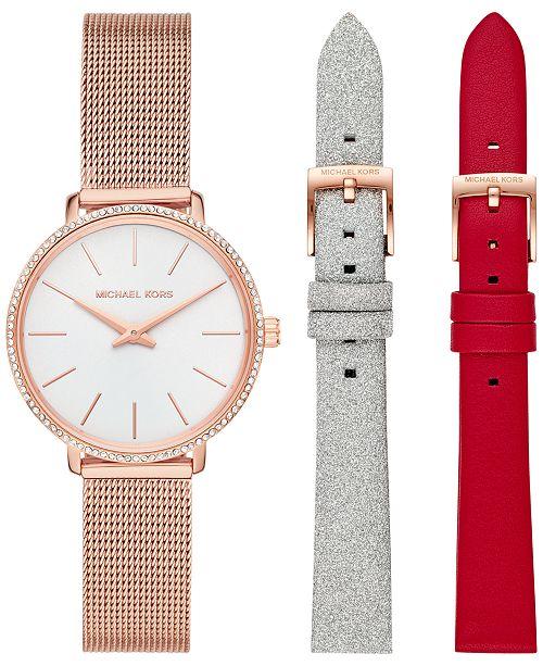 Michael Kors Women's Pyper Rose Gold-Tone Stainless Steel Mesh Bracelet Watch Gift Set 32mm
