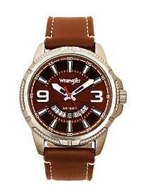 Wrangler Men's Watch, 48MM Silver Colored Ridged Case with Brown Zoned Dial, Outer Zone is Milled with White Index Markers, Outer Ring Has is Marked with White, Analog Watch with Red Second Hand An