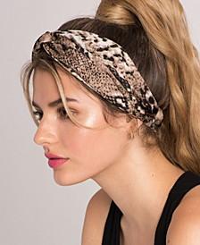 Snakeskin Print Top Knot Wrap Style Headband