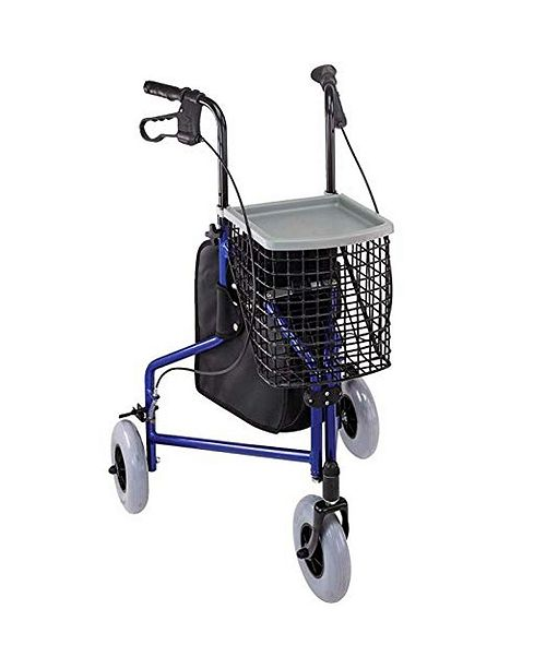 DMI 3-Wheel Folding Aluminum Rollator Walker with Swivel Front Wheel