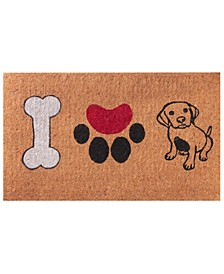 """Non-Slip Extra Thick Coco I Love Dogs Welcome Doormat, 18"""" x 30"""""""