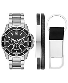 Men's Silver-Tone Bracelet Watch 46mm Box Set