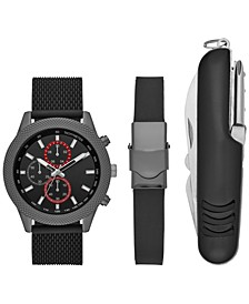 Men's Black Silicone Strap Watch 46mm Box Set