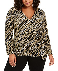 Plus Size Chain-Print Faux-Wrap Top, Created For Macy's