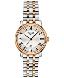 Women's Swiss Carson Premium Rose Gold 5N & Stainless Steel Bracelet Watch 30mm