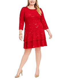 Plus Size Sequined Textured Dress