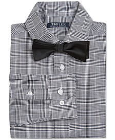 Big Boys 2-Pc. Regular-Fit Houndstooth Plaid Dress Shirt & Solid Bow Tie Set