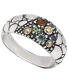 Multi-Gemstone (1/2 ct. t.w.) Crocodile Classic Ring in Sterling Silver and 18k Yellow Gold Accents