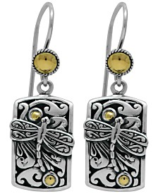 Sweet Dragonfly Classic Drop Earrings in Sterling Silver and 18k Yellow Gold Accents