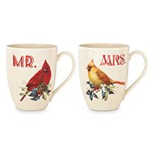 Winter Greetings Mr. & Mrs. Cardinal Mug, Set of 2