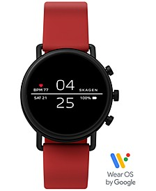 Unisex Falster 2 Red Silicone Strap Touchscreen Smart Watch 40mm