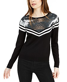 Sequin-Yoke Chevron Sweater, Created for Macy's