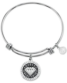 Light Gray Gem Charm Bangle Bracelet in Stainless Steel