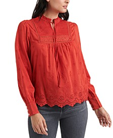 Cora Embroidered Pleated Top