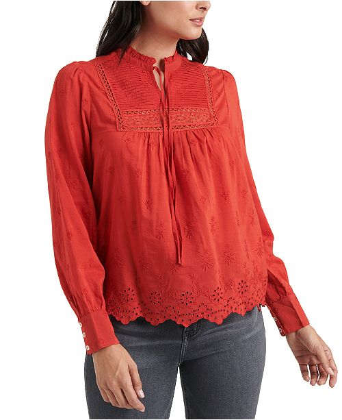 Lucky Brand Cora Embroidered Pleated Top