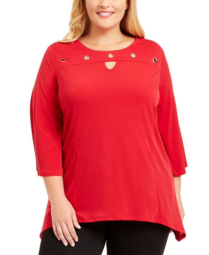 NY Collection - Plus Size Grommet Keyhole Top