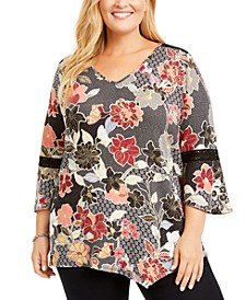 Plus Size Bell-Sleeve Printed Top
