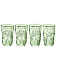 Pastel Green Romantic Water Glass, Set of 4