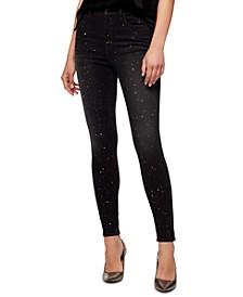 Metallic-Splatter Skinny Jeans