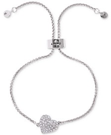 Silver-Tone Crystal Heart Slider Bracelet, Created For Macy's