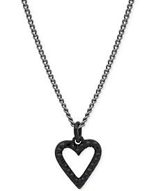 "Hematite-Tone Crystal Open Heart Pendant Necklace, 16"" + 3"" extender"