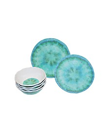 222 Fifth Fountain Turquoise 12 Piece Melamine Dinnerware Set