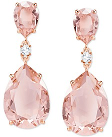 Rose Gold-Tone Crystal Drop Earrings